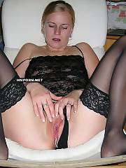 Private porn - lovely german light haired wife posing on bed, spreading legs wide and exposing wet pink cunt close up, Then she gets fucked in ass and mouth and facialized