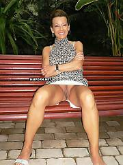 Mature women who love to wear no panties upskirt & like to flash their vaginas to tease strangers at public places