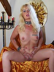 Blonde mature bitch showing her melons & pierced wet pussy slit
