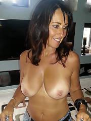 Boobed topless mamma