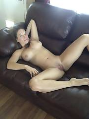 Mother naked on the couch