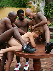 Mom in the interracial gang bang