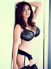 Adorable lingerie Asian mom big breasts