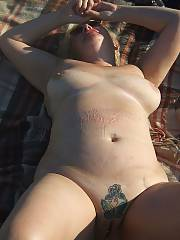Horny mother outdoors