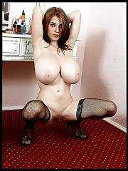 Sexy mamma with huge titties and stockings.