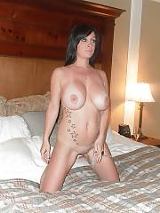 Horny boobed brunette