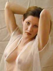 Mature mamma brenda showing her fine jugs on cam.
