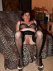 Sexy mature mamma loves wearing black stockings.