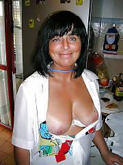 An italian woman having fun at home.