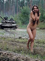Nude girl walks around the moving real russian tank! Exclusive amateur xxx photos