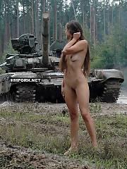 Nude girl walks