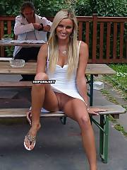 Amateur porn - naughty gals spreading legs and flashing naked vaginas upskirt in public, They dont wear panties and enjoy it