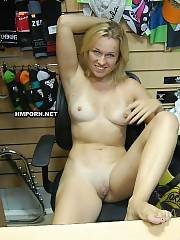 Middle-aged sales nymph walking nude in shoe store where she works, right at work hours