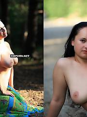 Plumper lady posing naked outdoors