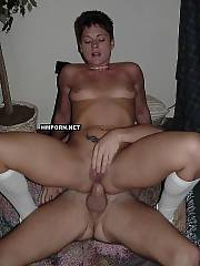 Good short-haired brunette cougar having wild group porn at swinger party with other married couples exchanging husbands and wives