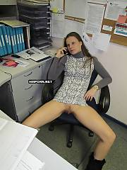 Amateur sex - young woman got horny at work and took her panties off to tease her coworker to penetrate her right in the office - she has got a pure success
