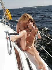 Cute nudist & naturist women liking sun & sea on the boats in the open sea, What can be more exciting than hot nude lady ready to drill with you on your yacht