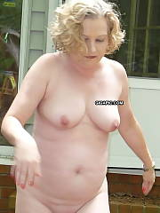 Chubby mature wife naked outside