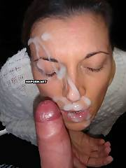 Mixed home made cumpilation of facial cumshots on cute faces of slutty girlfriends - home made sex pictures