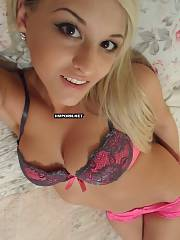Very lovely lighthaired babe fingers pleasure button under sexual panties  takes selfies on home made porn pictures